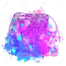 Indian Elephant Over Watercolor Background Tattoo Art Yoga