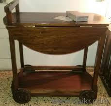 round table top trolley made in teak wood