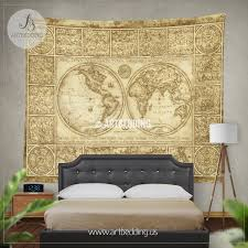 vintage world map wall tapestry old world map wall hanging historical map wall decor vintage map