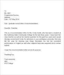 High School Recommendation Letter For Student Letter Of Recommendation For High School Student Writing