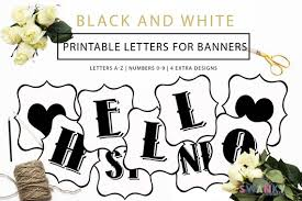 Letter For Banner Printable Banner Letters Black And White Letters Make Your Etsy