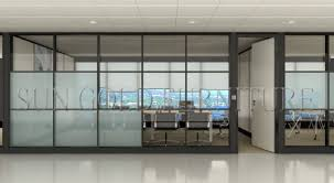 Glass Office Wall Modular Customized Half Glass Used Office Wall Partitions SZWS567
