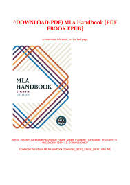 Download Pdf Mla Handbook Pdf Ebook Epub