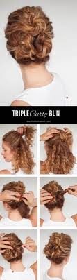 Easy everyday curly hairstyle tutorials \u2013 the curly triple bun