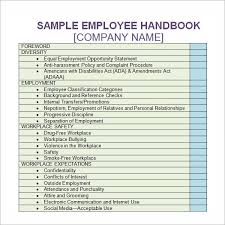 Sample Employee Handbooks Free 5 Sample Printable Employee Handbook Templates In Pdf