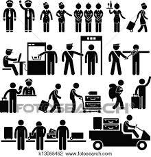 空港 労働者 そして セキュリティー クリップアート切り張りイラスト絵画集