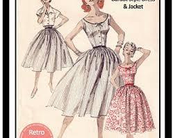 1950s Dress Patterns Inspiration 48s Dress Patterns Etsy