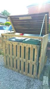 outdoor wooden garbage can holder small size of pallet bin storage shed trash outside