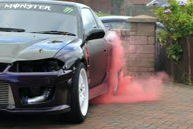 gender reveal car exhaust red dye tyre used for diy