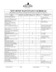 Home Maintenance Schedule Spreadsheet New Home Maintenance Schedule Templates At