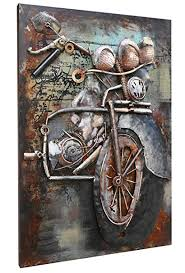 asmork 3d metal art 100 handmade metal unique wall art stereograph oil painting on motorcycle wall art sculpture with amazon asmork 3d metal art 100 handmade metal unique wall