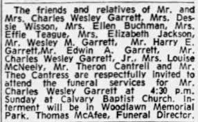 Charles Wesley Garrett Funeral - Newspapers.com