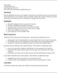 Bartending Resume Examples Fascinating Sample Bartending Resume28 Bartender Resume Examples Free To Try