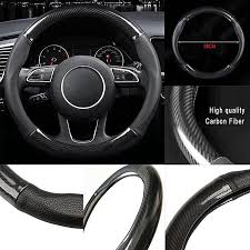 product images gallery generic black carbon fiber leather stitching steering wheel cover