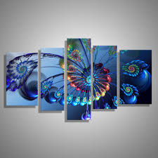modern oil painting canvas print landscape abstract art blue pea wall art picture for home decoration 5pcs in painting calligraphy from home garden