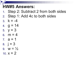swbat solve multi step equations 3 hw 5 answers step 2