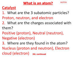 Ppt What Is An Atom Catalyst 1 What Are The 3 Subatomic