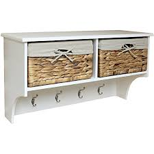 Coat Rack With Storage Baskets Hartleys Hallway Shelf 100 Hook Coat Rack with Seagrass Storage 8