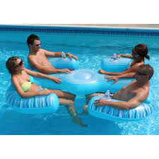 swimming pool inflatable 4 person float kids play party lounger drink hold