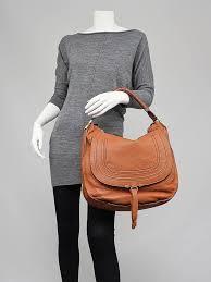chloe marcie hobo. chloe tan calfskin leather large marcie hobo bag