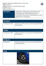 Social Media Plan Template Adorable Global Social Media Plan September Topic Golf R 48 Subline Focus On