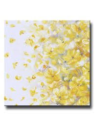 white and yellow flower wall art