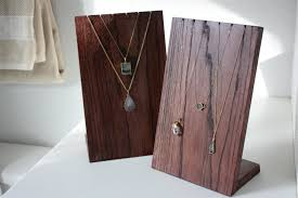 view larger wooden necklace display stand
