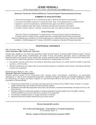 Electronics Technician Resume Resume Work Template
