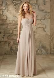 stunning illusion neck long chiffon bridesmaid dress with
