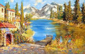 mountain landscape original oil acrylic with palette knife painting by dmitry spiros ready