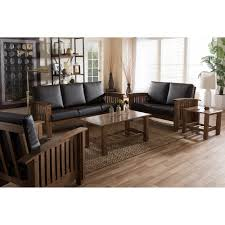 modern mission style furniture. baxton studio charlotte modern classic mission style walnut brown wood and dark faux leather living furniture d
