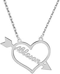 Iprome Custom Heart Name Necklace with Arrow Personalized ...