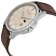 gucci g timeless ivory dial brown leather strap mens watch item specifics