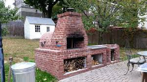 family wood fired outdoor brick oven diy fireplace and grill