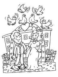 Kleurplaat Huwelijk Trouwen Duiven Kleurplatennl Trouw