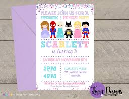 Superhero Princess Invitation Boy Girl Party Princess Superhero Invitation