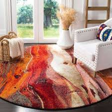 glacier red multi 7 ft x 7 ft round area rug