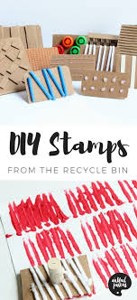 make your own diy stamps with various textures using cardboard and other materials from the recycling