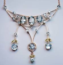 antique edwardian era aquamarine gold pendant necklace