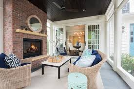 Sunroom with Dark Stained Plank Ceiling