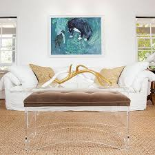 cushioned coffee table. Arched Acrylic Brown Cushioned Coffee Table