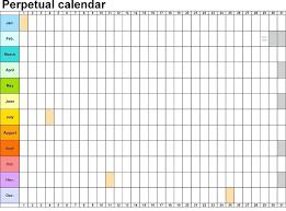 Excel Perpetual Calendar Template Perpetual Calendar Horizontally ...