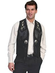 scully handlaced bead trim vest black