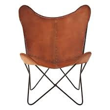 lx interiors brown buffalo leather erfly chair with iron frame