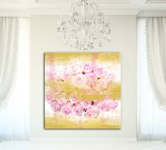 large floral canvas wall art print gold canvas gold wall art pink roses on pink and gold floral wall art with watercolor landcolor skycolor large floral canvas wall art print