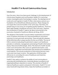 health it in rural communities essay health it in rural communities essay introduction over the years there have been great challenges