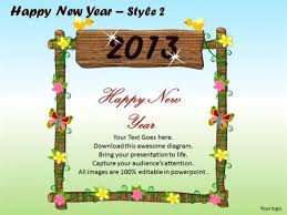 Welcome Card Templates 2013 New Year Welcome Card Powerpoint Diagram
