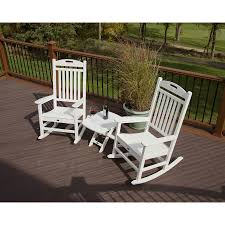 trex outdoor furniture yacht club 2 piece white plastic frame bistro patio dining set