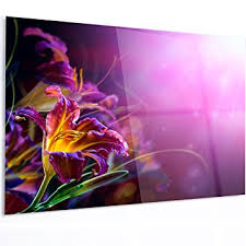 designart mt14194 48 30 flowers on purple background extra large floral glossy metal on amazon metal wall art flowers with amazon designart mt14194 48 30 flowers on purple background