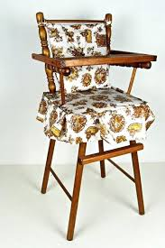 high chair cushions vintage wooden doll high chair with kitsch print cushion and skirt outdoor high
